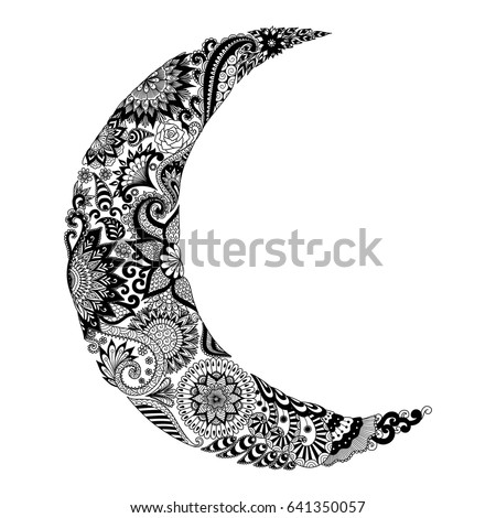 Floral Doodle In The Shape Of Eclipse Lunar For Cards Invitation And Coloring Book Page