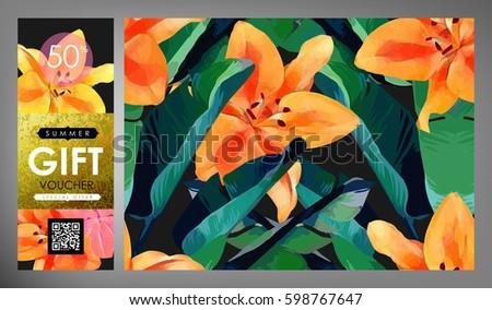 Floral Flayer Discount Voucher Gift Certificate Stock Vector ...