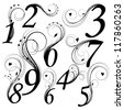 Floral font. Numbers from 0 to 9 - stock photo