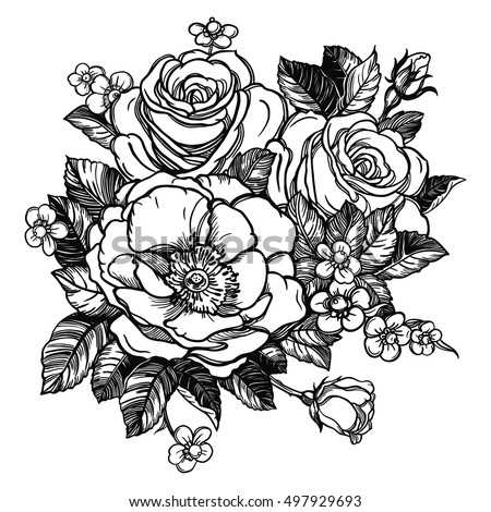 Floral Highly Detailed Hand Drawn Rose Flower Stem With Roses And Leaves Vintage Victorian Motif