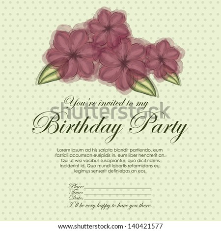 floral invitation birthday over yellow  background vector illustration