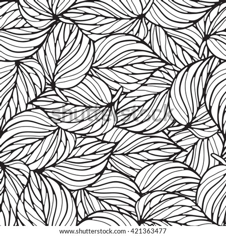 Floral ornament, leaves. Seamless vector background.