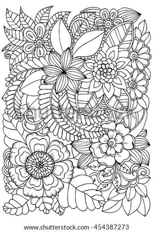 Two Birds Love Doodle Flowers Hand Stock Vector 371134250
