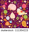 Floral pattern with birds. - stock vector