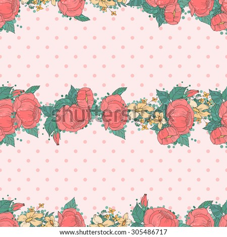 Floral Seamless Pattern Decoration. Textile or Print Design. Ornament of Pink Peonies  on Vintage Polka Dot Background. Flowers Backdrop. Wrapping Or Digital Paper.