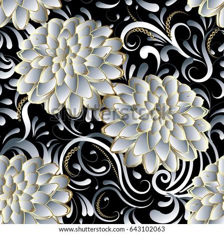 Elegance modern floral paisley pattern background stock for 3d white flower wallpaper
