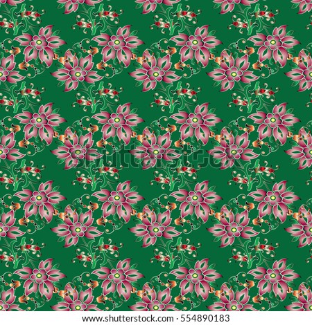 Floral seamless pattern. Flowery green background with pink flowers and decorative elegance ornament. Fabric texture. Flourish wallpaper illustration.