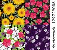 Floral set, seamless patterns, hand-drawing. Vector illustration. - stock vector