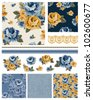 Floral Vector Rose Seamless Patterns and icons.  Use to create great fabric projects or digital paper for scrap booking. - stock vector