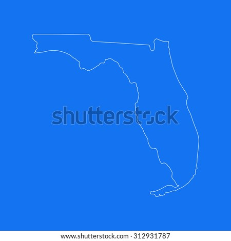 Florida outline map, stroke. Line style. White and blue. Vector EPS8