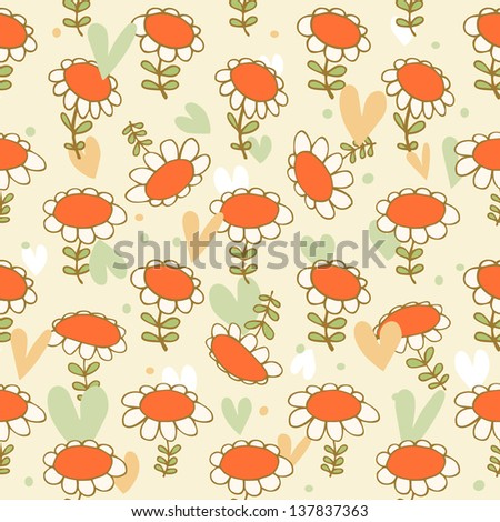 Flourish seamless drawn pattern. Camomiles delicate texture. Daisy. Bright background with spring flowers. Poppies