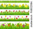 Flower Borders Set, Vector Illustration - stock photo