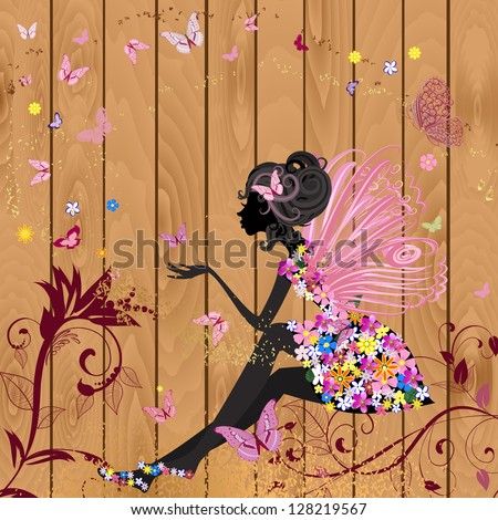 Flower fairy on a wood texture for your design stock vector