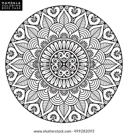 Coloring Book Page Flower Mandala Vintage Decorative Elements Oriental Pattern Vector Illustration Islam Arabic