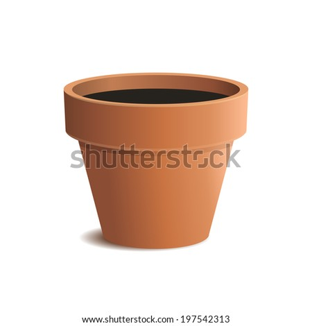 Flower Pot Isolated on White Background. Vector illustration