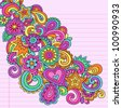 Flower Power Groovy Psychedelic Hand Drawn Abstract Notebook Doodle Design Element on Lined Sketchbook Paper Background- Vector Illustration - stock photo