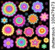 Flower Power Groovy Psychedelic Hand Drawn Notebook Doodle Design Elements Set on Lined Sketchbook Paper Background - Vector Illustration - stock photo