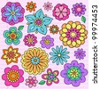 Flower Power Groovy Psychedelic Hand Drawn Notebook Doodle Design Elements Set on Lined Sketchbook Paper Background- Vector Illustration - stock photo