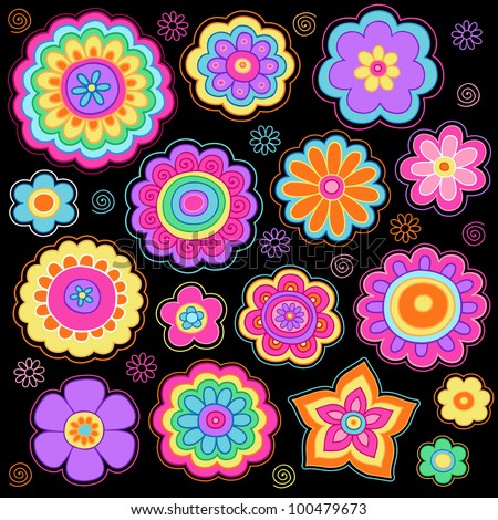 flower power groovy psychedelic hand drawn stock vector 100990933 shutterstock. Black Bedroom Furniture Sets. Home Design Ideas
