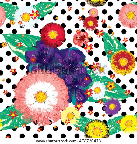 flower seamless pattern with dot  background
