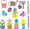flowers, garden tools and insect - stock vector