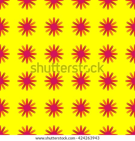 Flowers on a yellow background. Seamless pattern.