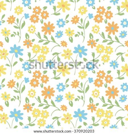 Cartoon pineapple vector background cute summer flowers seamless vector pattern voltagebd Choice Image
