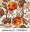 Flowers. Vector. Beautiful background with a flower ornament. - stock photo