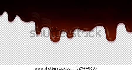 Flowing dark chocolate glaze isolated on transparent background abstract. Melt icing ice cream. Editable - Easy change colors. Vector illustration
