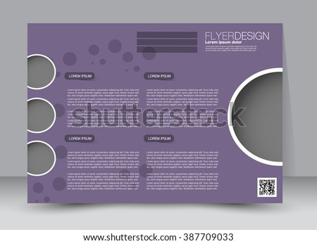 Flyer, brochure, magazine cover template design landscape orientation for education, presentation, website. Purple color. Editable vector illustration.