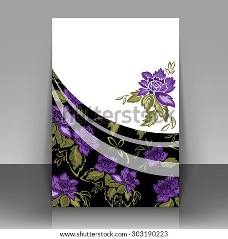 Flyer with violet flowers on a black background. Can be used as the cover of brochures