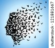 flying birds to human head - stock vector