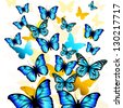 flying butterflies - stock vector