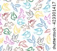 Flying colorful birds seamless pattern on white background with bright sketches of doves or pigeons in flight with raised and outstretched wings. Use as peace and religion themes design - stock vector