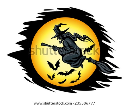 flying halloween witch for seasonal holiday design vector illustration - Flying Halloween Witch
