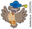 Flying owl teacher - vector illustration. - stock photo