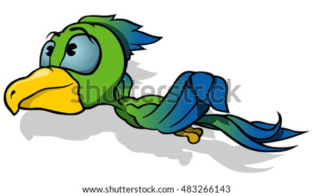 Flying Parrot - Colored Cartoon Illustration, Vector