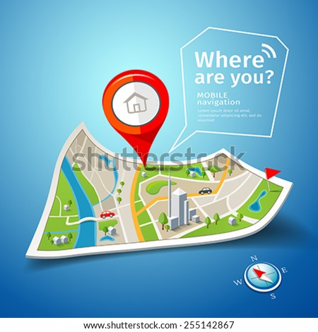 Folded maps navigation with red color point markers design background, vector illustration