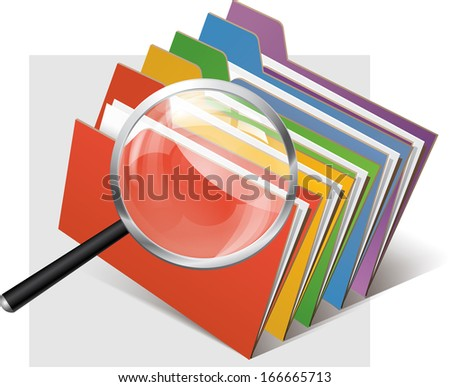 folders and magnifier glass