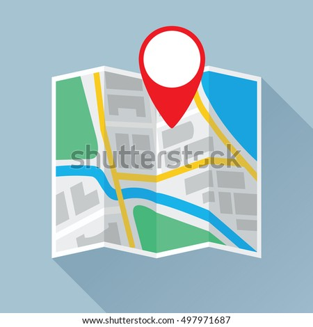 Folding paper city map with location mark. Colored flat icon. Vector eps8 illustration.