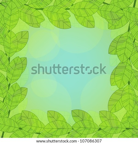 Foliage frame on abstract background