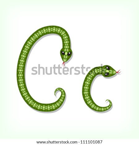Font made from green snake. Letter C
