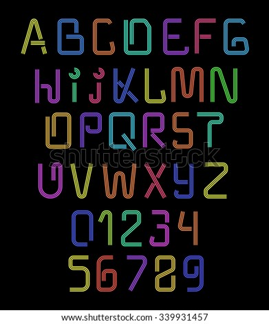 Font neon. Realistic brilliant, fluorescent  for holiday decoration and design of brochures. Alphabet nightclub. Letters for signs of night