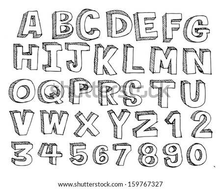 Childs Drawing Alphabet Letters Stock Vector 46140106 - Shutterstock