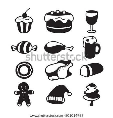 Food And Drink Icons Set, Monochrome For Christmas Day.