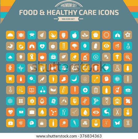 Food and healthy care Icon set,clean vector