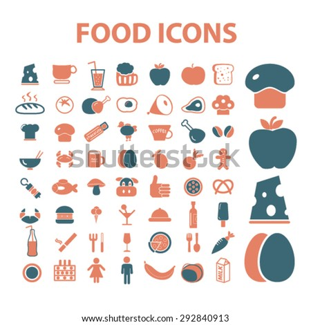 food, cafe, restaurant isolated vector icons
