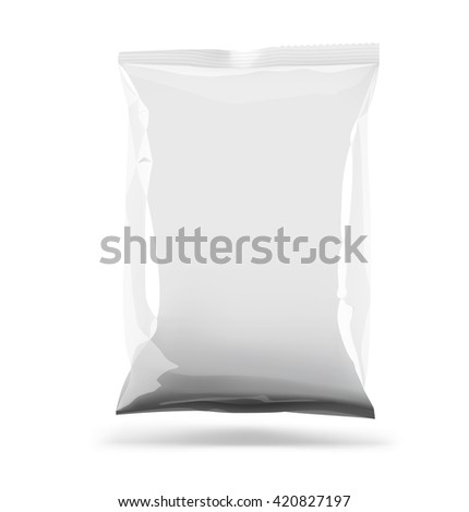 Food pillow bag template (Capellini, Vermicelli, Spaghetti, Fettuccine, Fusilli, Girandole, Tortiglioni, Penne) on white background. Vector illustration. Can be use for template your promo, adv.