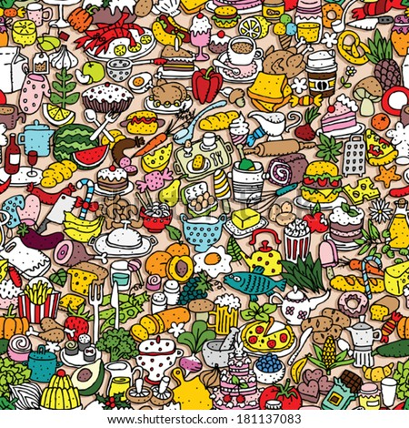 stock vector food seamless pattern repeated with mini doodle drawings icons illustration is in eps vector 181137083 - Каталог — Фотообои «Еда, фрукты, для кухни»
