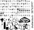 Food set of black sketch. Part 2-1. Isolated groups and layers. - stock vector